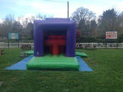 Obstacle course with large slide