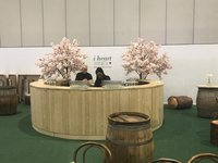 Round rustic mobile bar for sale