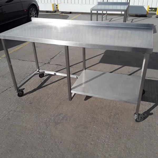 Stainless steel table on wheels