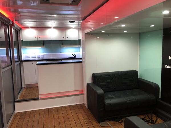 Interior of 7m Event Hospitality Trailer