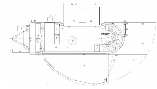 Plan of 7m Event Hospitality Trailer