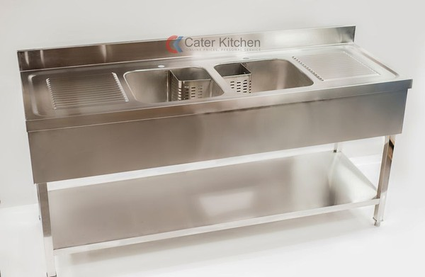 B Grade Double Bowl Double Drainer Commercial Sink - Free Next Day Delivery
