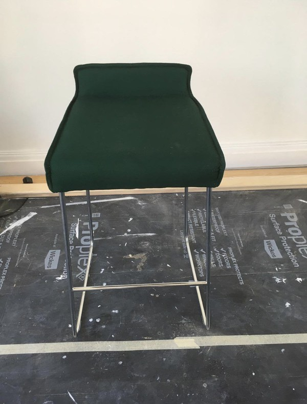 Second Hand Green Fabric Bar Stools For Sale