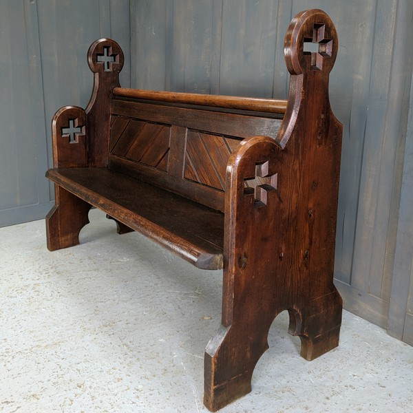 137cm Long Big Cross Ended Antique Pitch Pine Pews from All Saints - Surrey