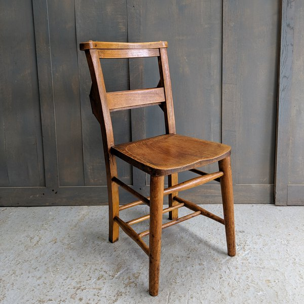 Heavy Elm & Beech Circa 1920 Classic Church Chapel Chairs