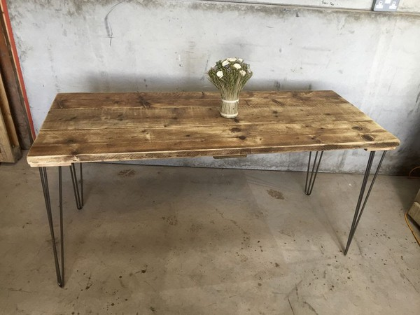 Rustic Scaffold Board Table on Hairpin Legs - Bar / Cafe Tables - Lancashire