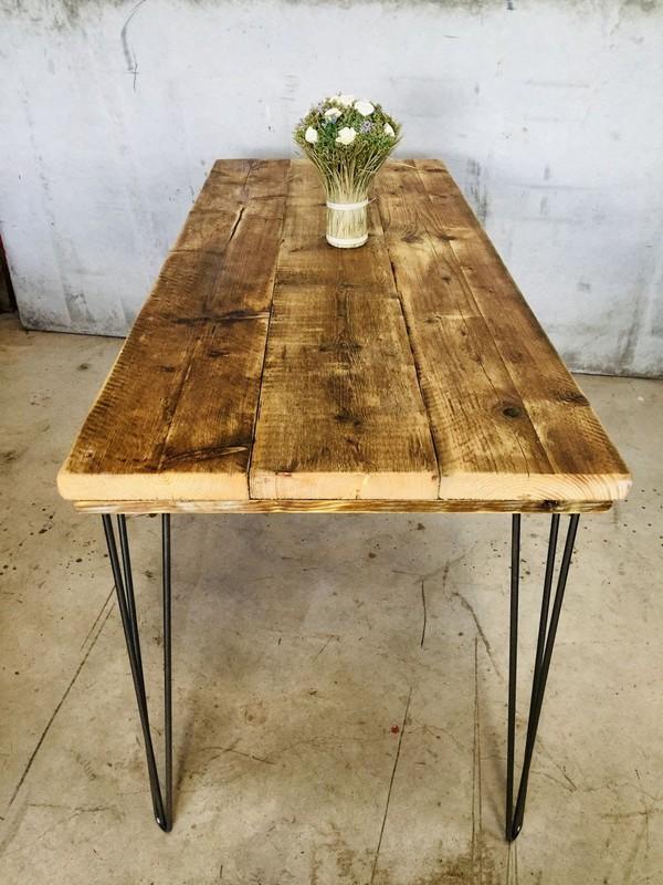 Rustic Scaffold Board Table on Hairpin Legs