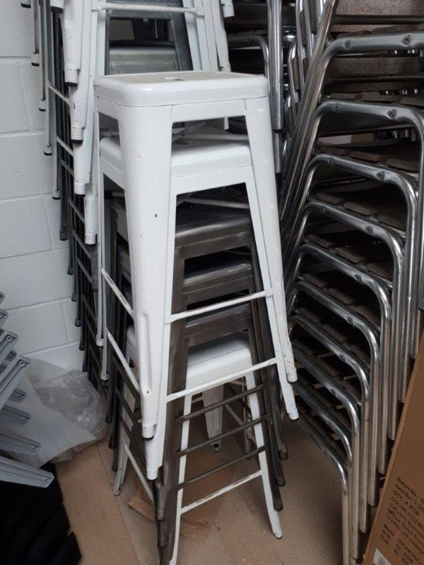 Second Hand White Metal Tolix Stools For Sale
