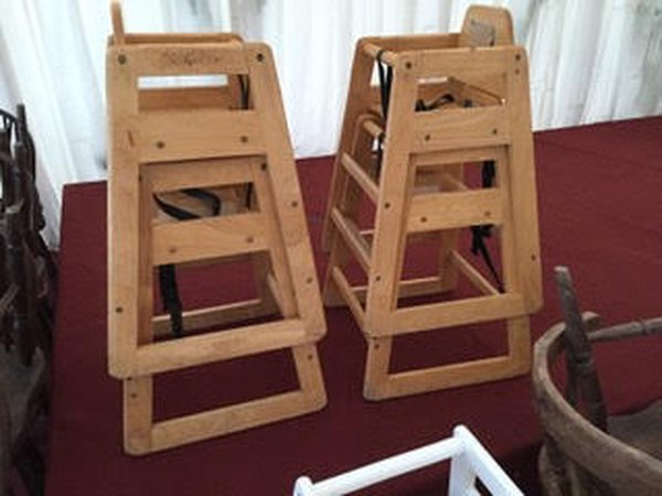Second Hand Wooden Brown High Chair With Safety Straps - Walcott, Norfolk