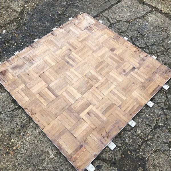Interlocking dance floor panels