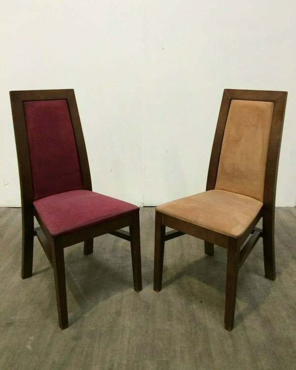 High back dining chairs in Burgundy and Tan