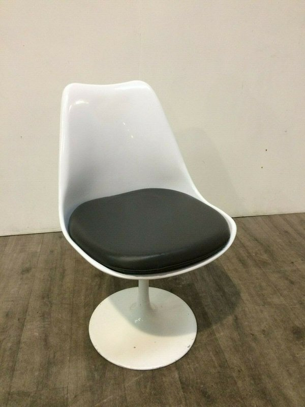 White and Black Swivel Tulip Chairs