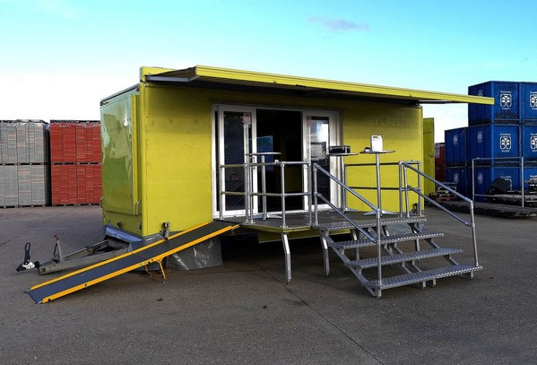 6.5m Professionally built Exhibition Trailer with slide-out seating area