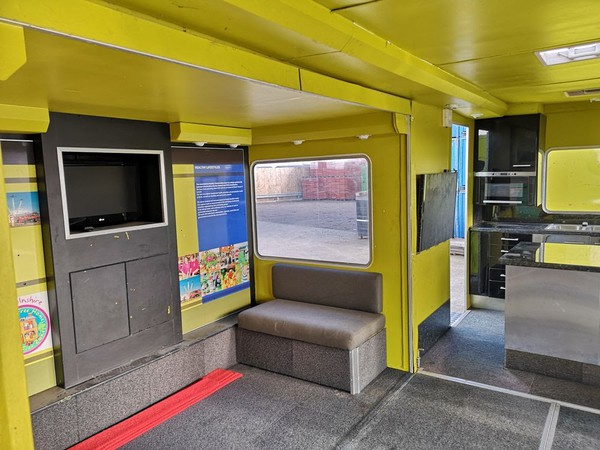 Exhibition Trailer with slide-out seating area for sale