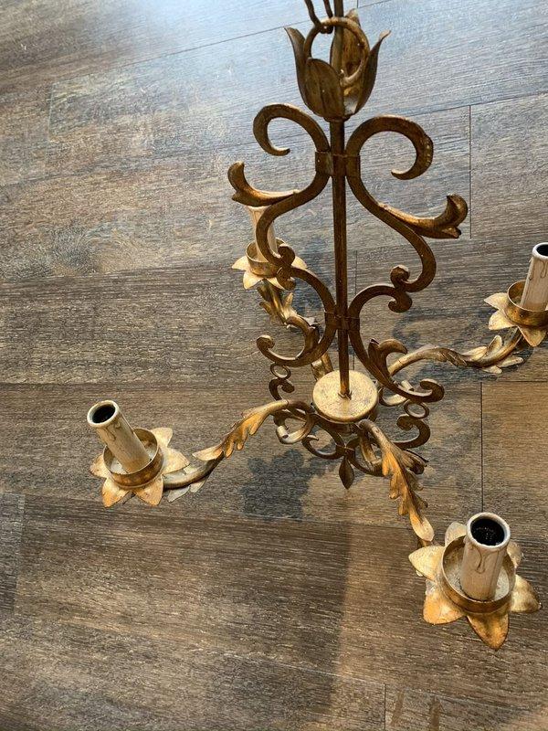Li Puma gilt chandeliers