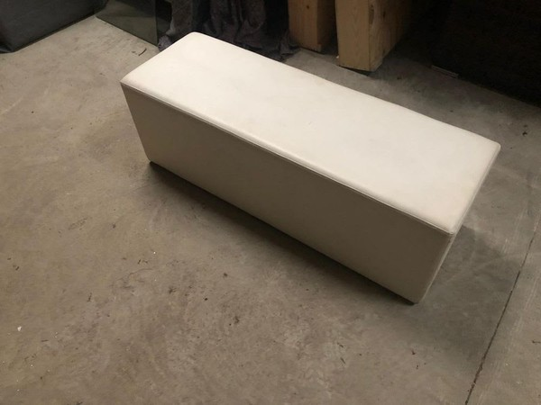 White leather bench seating