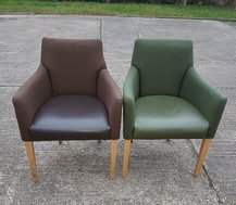 Reception chairs in green and brown