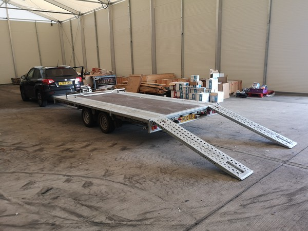 4.5m Flat Bed Brian James Trailer with ramp extended