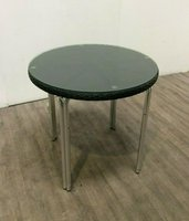 Round Rattan Table With Glass Top For Sale