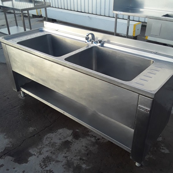 Used Boppas Stainless Steel Double Sink	(10390)
