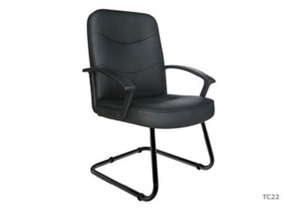 Black Leather Static Office Chair