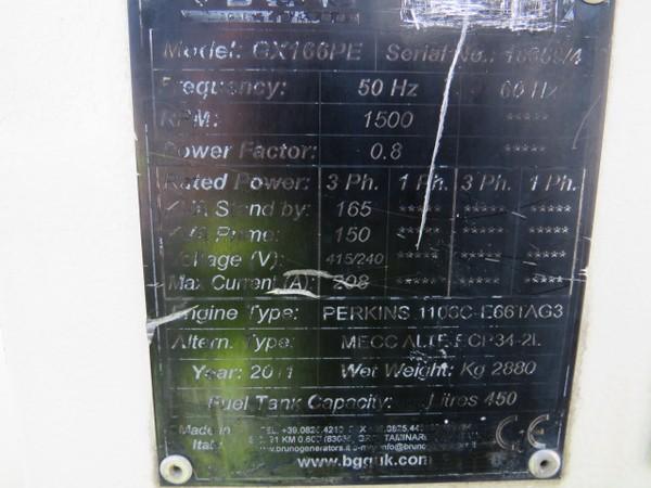 Used Perkins 150kva diesel generator