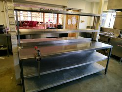 Stainless steel prep tables with gantry