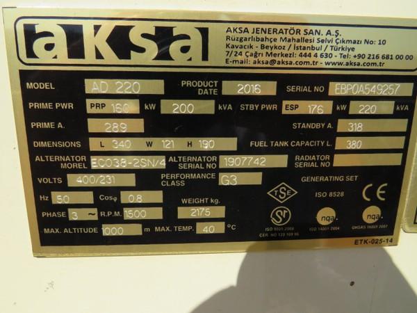 Aksa 220Kva Generator For Sale