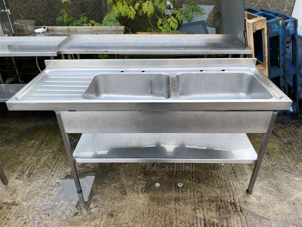 Double Bowl Single Drainer Commercial Sink