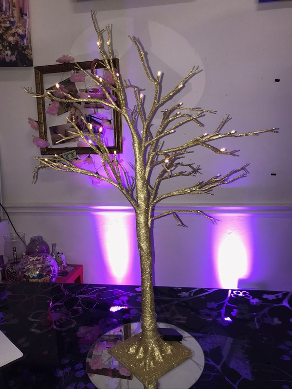 Gold Sparkly LED Tree Table Centres