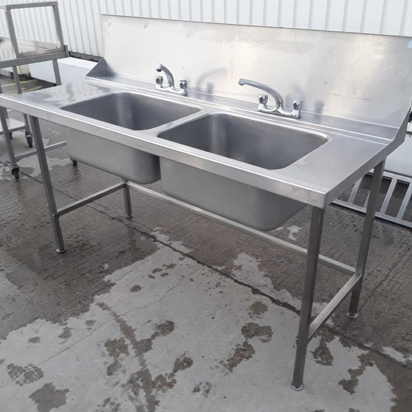 Used Stainless Steel Double Dishwasher Sink	(10412)