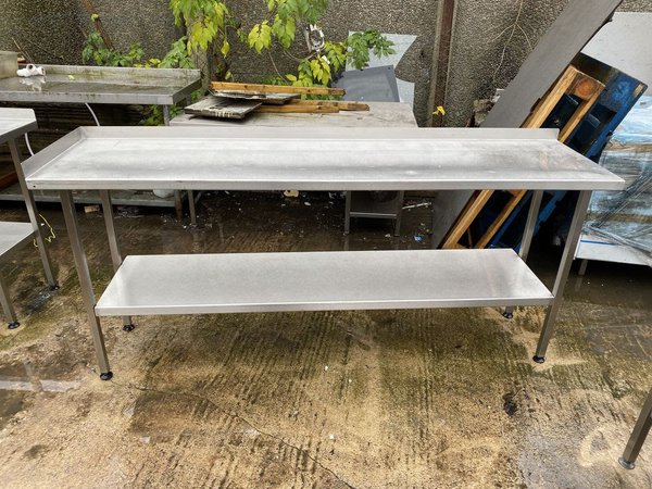 2m Narrow Stainless Steel Table For Sale