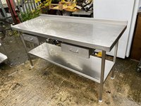 1.7m Stainless Steel Table with Drawers