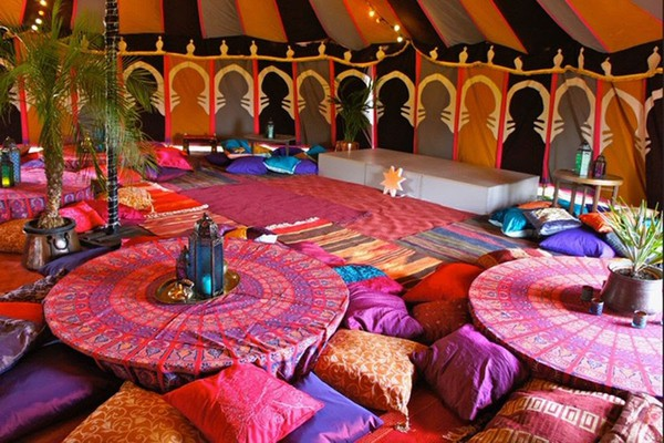 Colorful Moroccan marquee lining