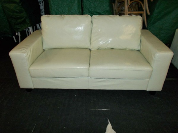 Second Hand Cream Faux Leather Sofa
