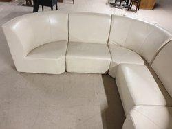 Cream leather modular corner seating