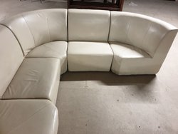 Cream leather modular corner seating - Derby