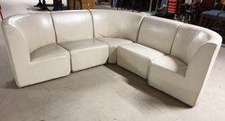 Cream leather modular corner seating set
