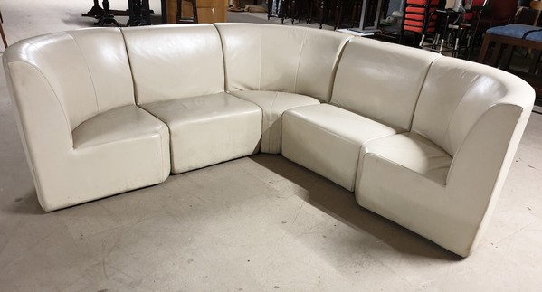 Cream leather modular corner seating set