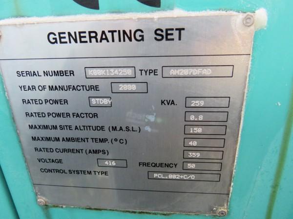 Cummins Generator 259Kva