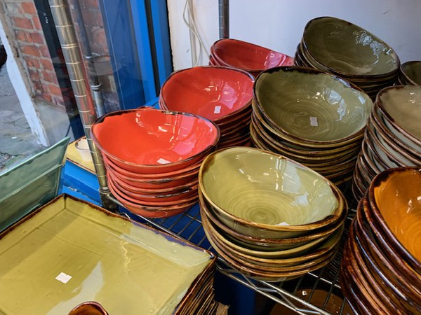 Dudson clearance stock in earthy reds and greens