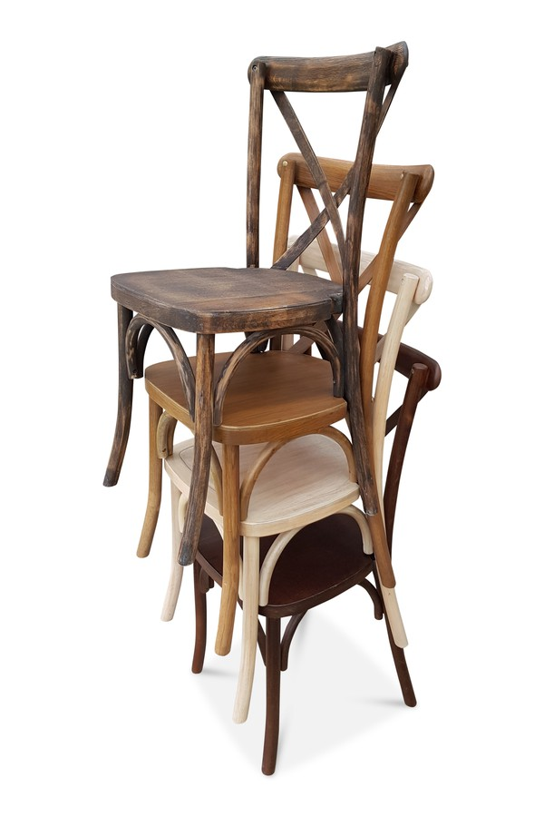 Cross-Back Stacking Chairs Light Oak For Sale