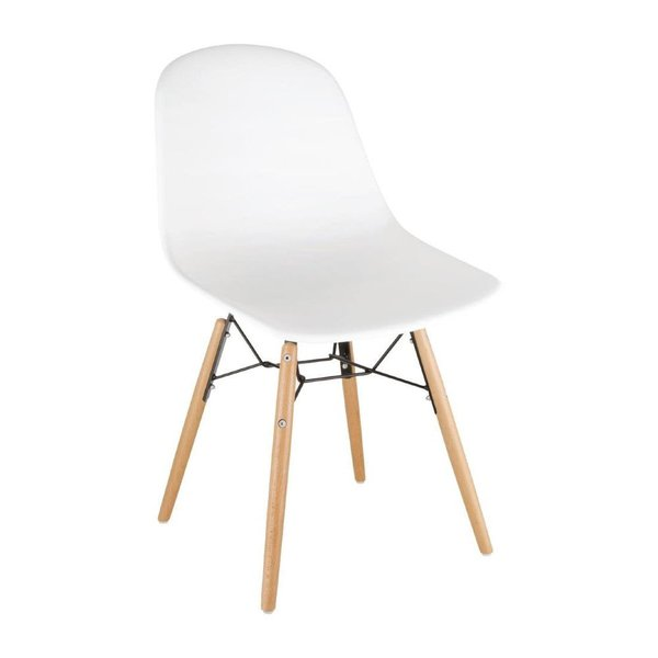 Bolero PP White Moulded Chairs With Spindle Legs