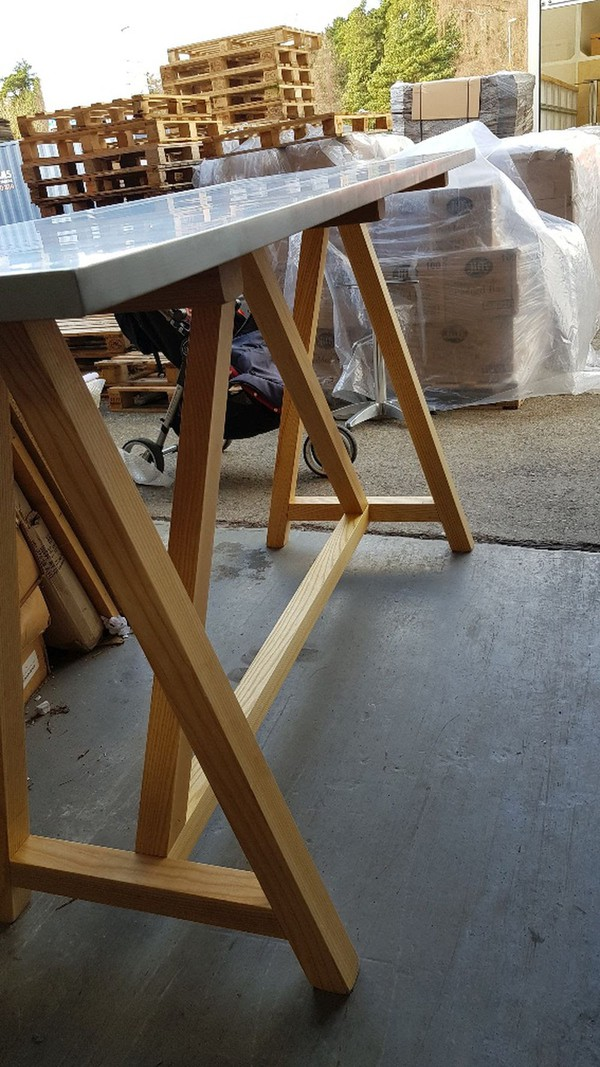 Large Zinc Trestle Table