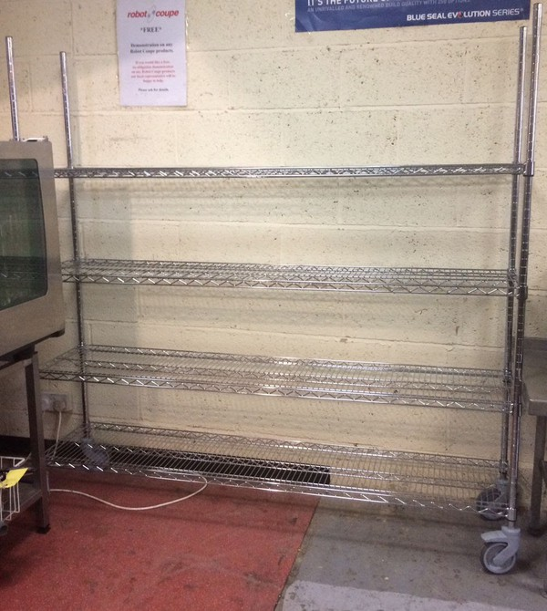 4 Tier Mobile Wire Shelving Unit (1800mm)