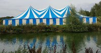 Blue and white Tension marquee