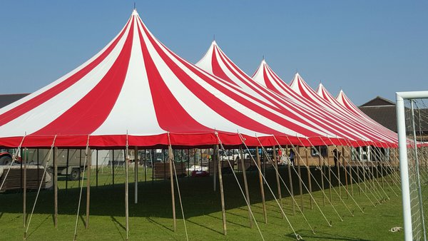Red and white tension marquee for sale
