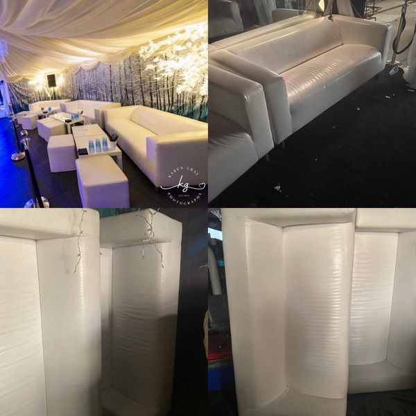 White Faux Leather Sofa For Sale