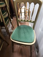 Ex Hire Gold Cheltenham Chairs with green seat pad