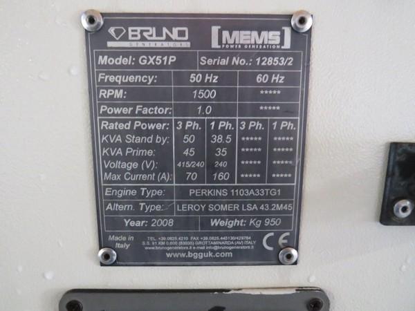 Perkins Super Silent Diesel Generator 50kVA Standby 230/400v 50Hz 3 Phase - Kent